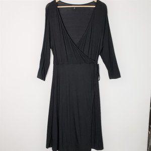 Torrid Faux Wrap Jersey Knit Black Midi Dress 0